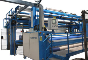 CAMPENs unique system for automatic winding and packaging of carpets ensures environmentally friendly and economical packaging